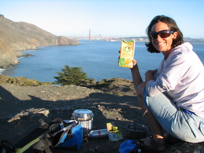 Annie's box macaroni dinner-in-san-fran Pacific coast bicycle tour