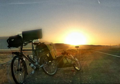 Surly Long Haul Truck and the BOB Yak Trailer beautiful sunset on Highway 26