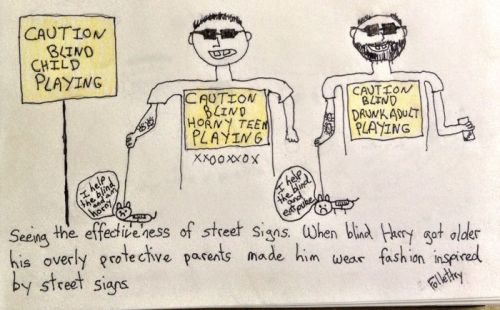Caution Blind Cartoon Brandon Follett