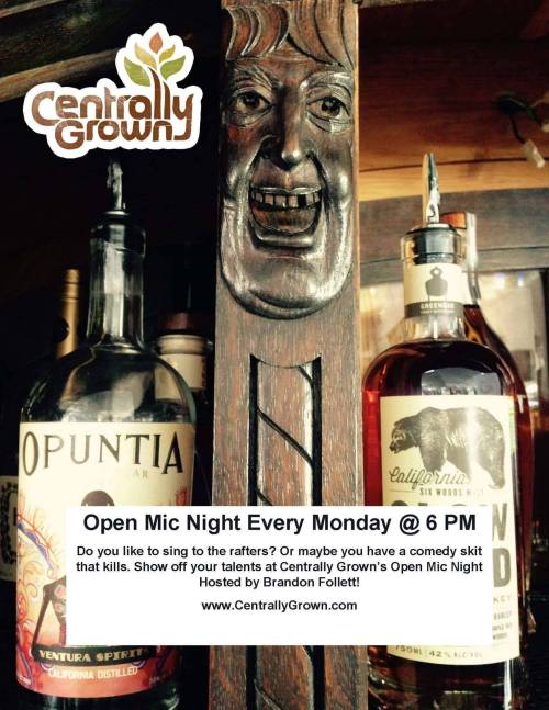 Centrally Grown open mic Brandon Follett Cambria California